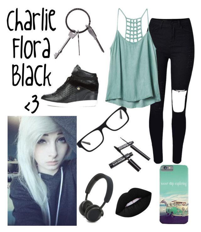 """""""Charlie Black"""" by xclockworkx ❤ liked on Polyvore featuring Albino, MICHAEL Michael Kors, WithChic, Ray-Ban, Lime Crime, Givenchy, RVCA and B&O Play"""