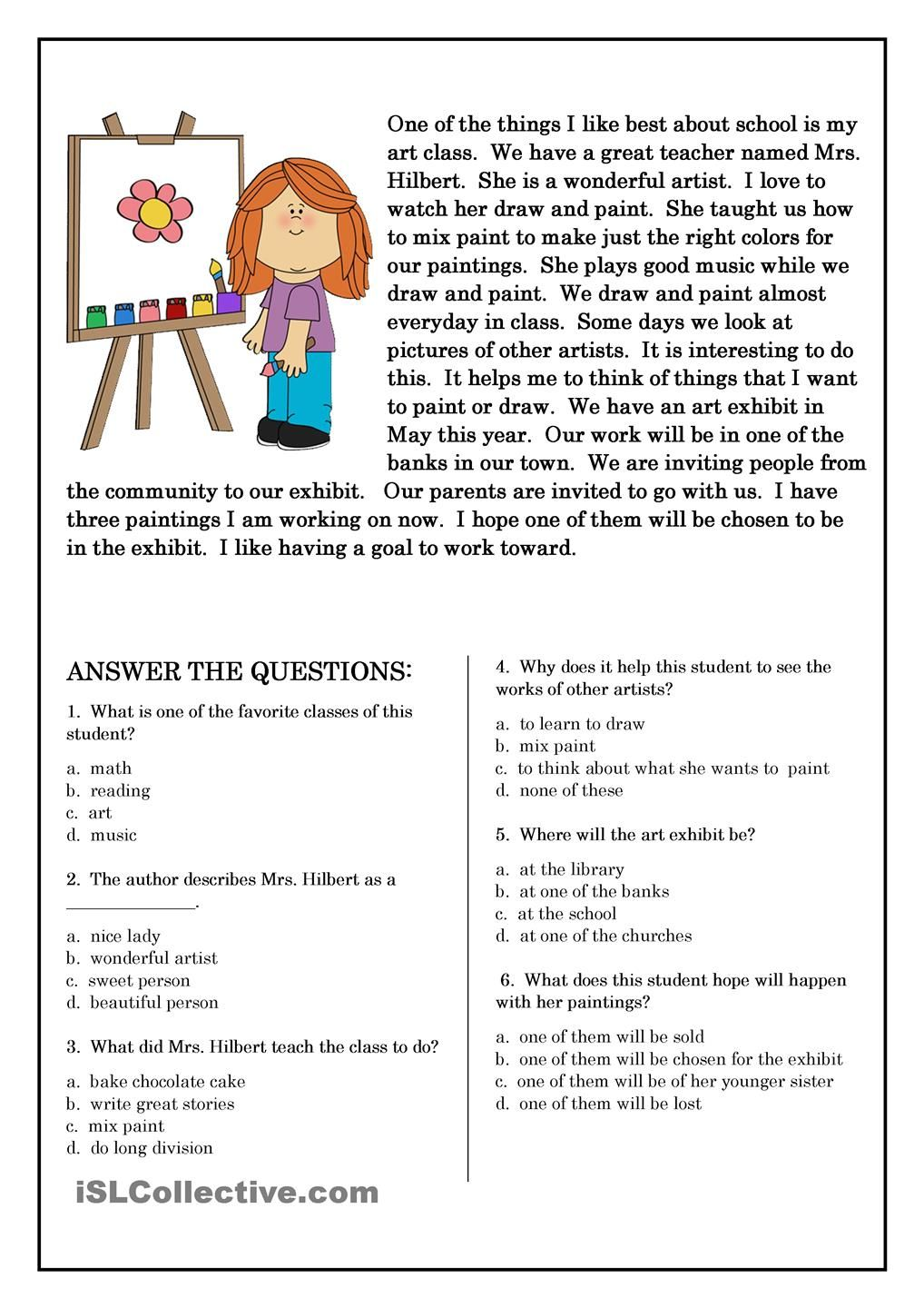 worksheet 4th Grade Reading Comprehension Printable Worksheets 78 best images about reading comprehension on pinterest simple sentences grade 1 and english short stories