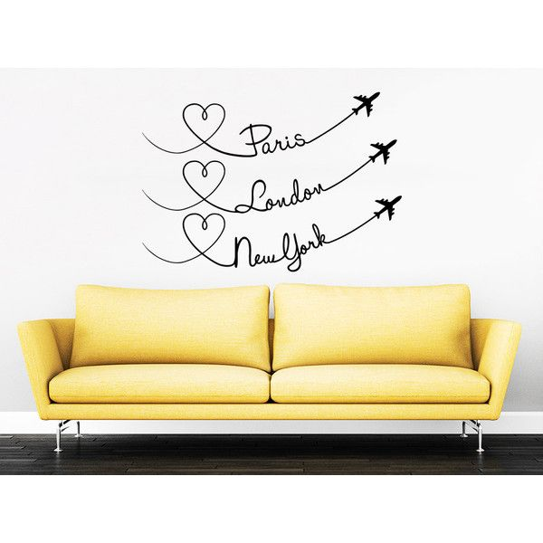 Paris London New York Quote Travel Wall Decal Vinyl Stickers Decals... ($15