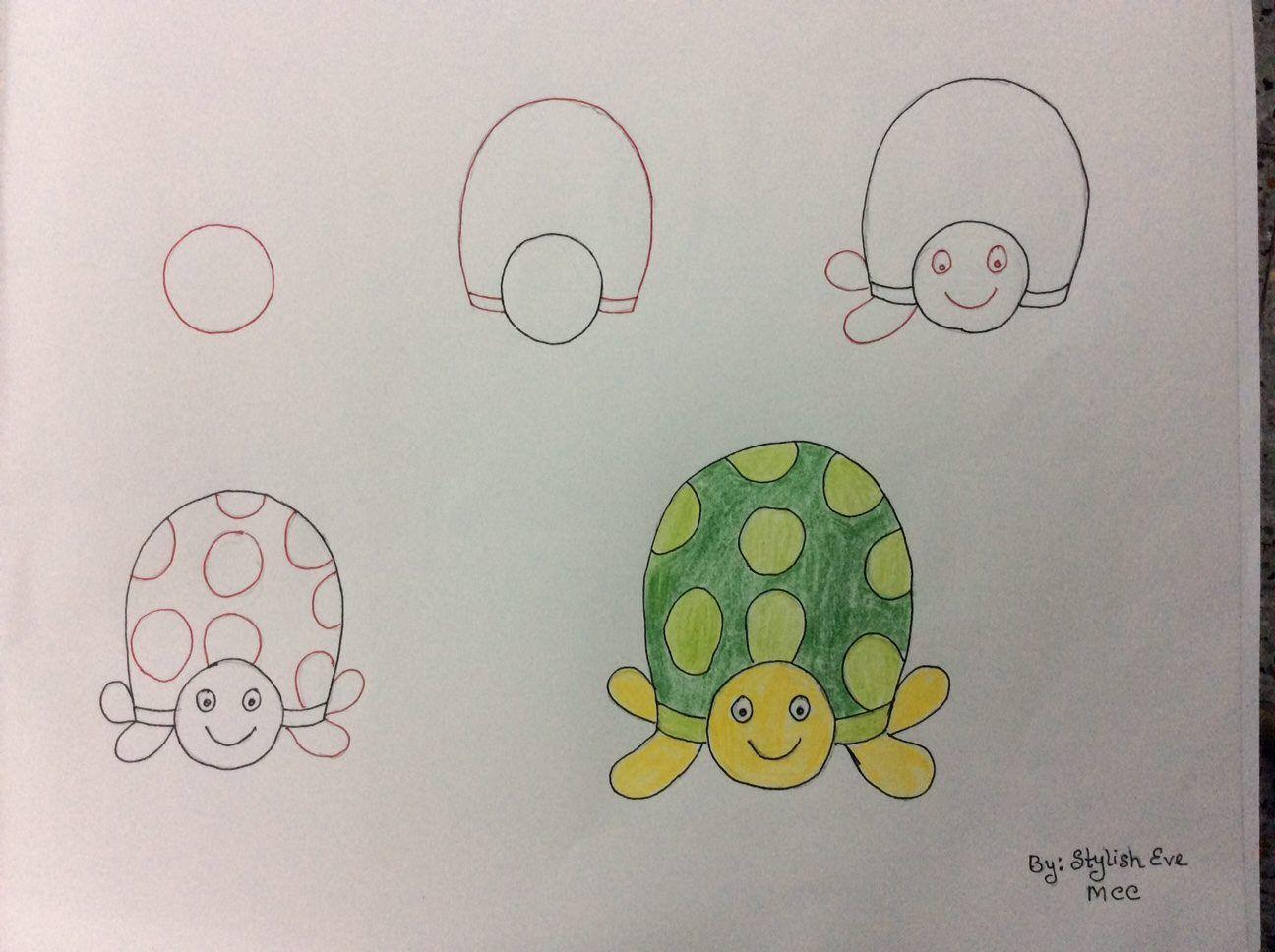 آموزش نقاشی ساده حیوانات با اعداد Easy Drawings Drawings Turtle Drawing