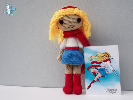 Supergirl Doll from Hanie Mohd's Sweater Superladies by amibypots - aw how cute! #Supergirl #HanieMohd #amibypots #amigurumi