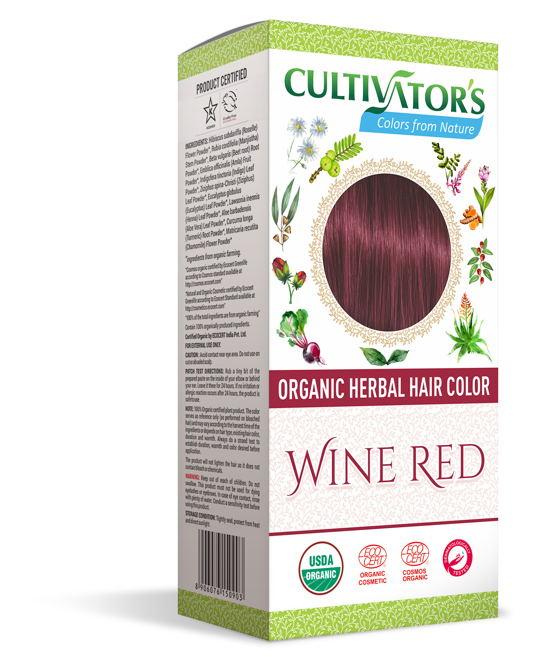 Wine Red Organic Herbal Hair Color Hibiscus Beet Root Indigo