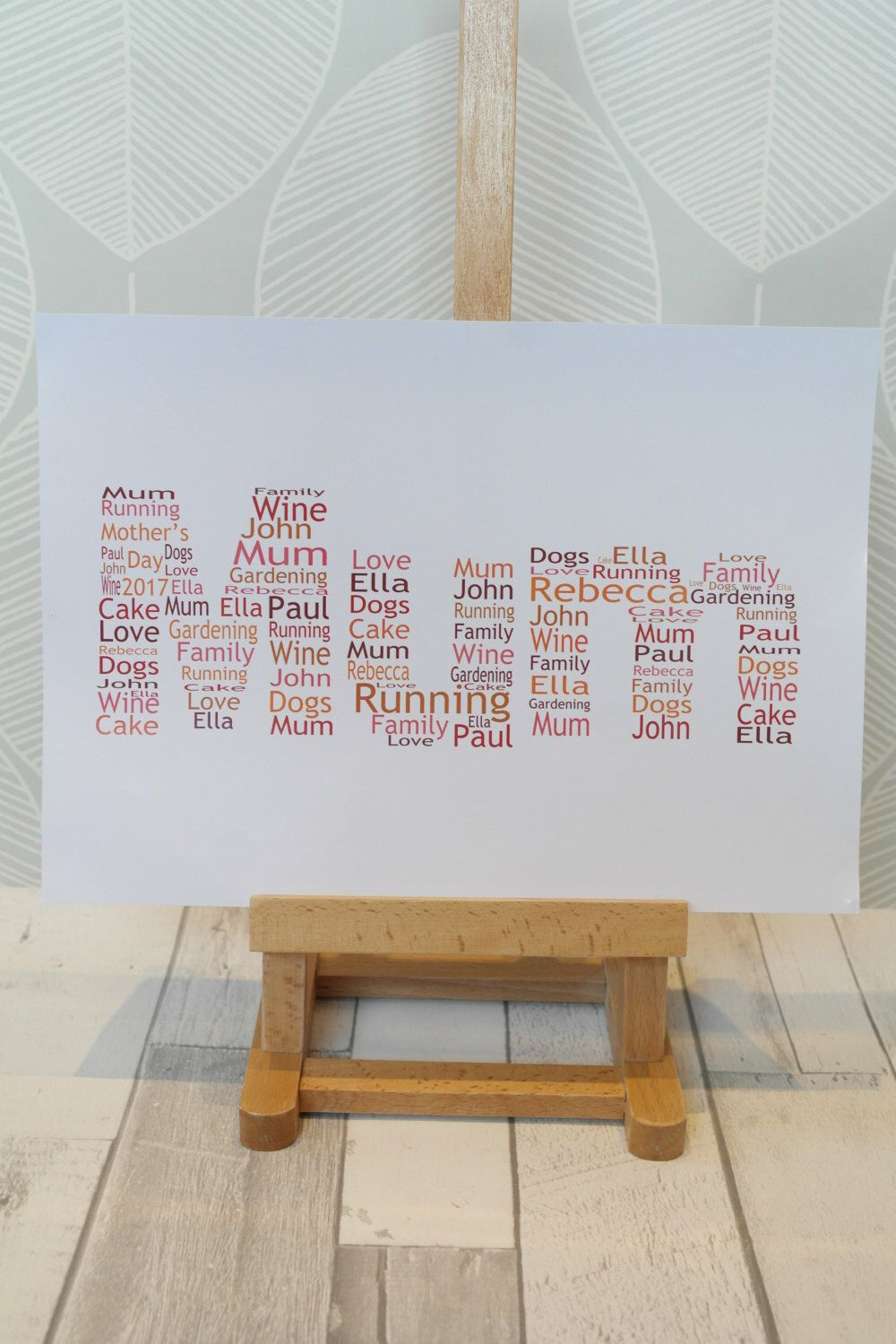 A personal favourite from my Etsy shop https://www.etsy.com/uk/listing/493351286/personalised-a4-mum-word-art-print