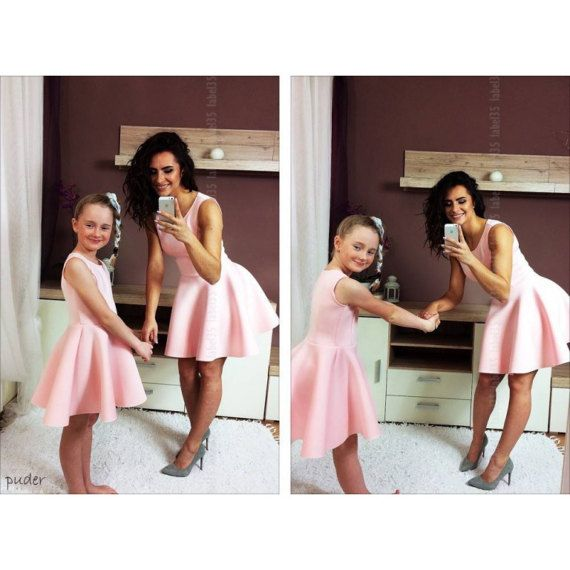 Maman Et Moi Robe Pastel Rose Mere Fille Assorti Par Minimepuppe Dresses Bridesmaid Dresses Wedding Dresses