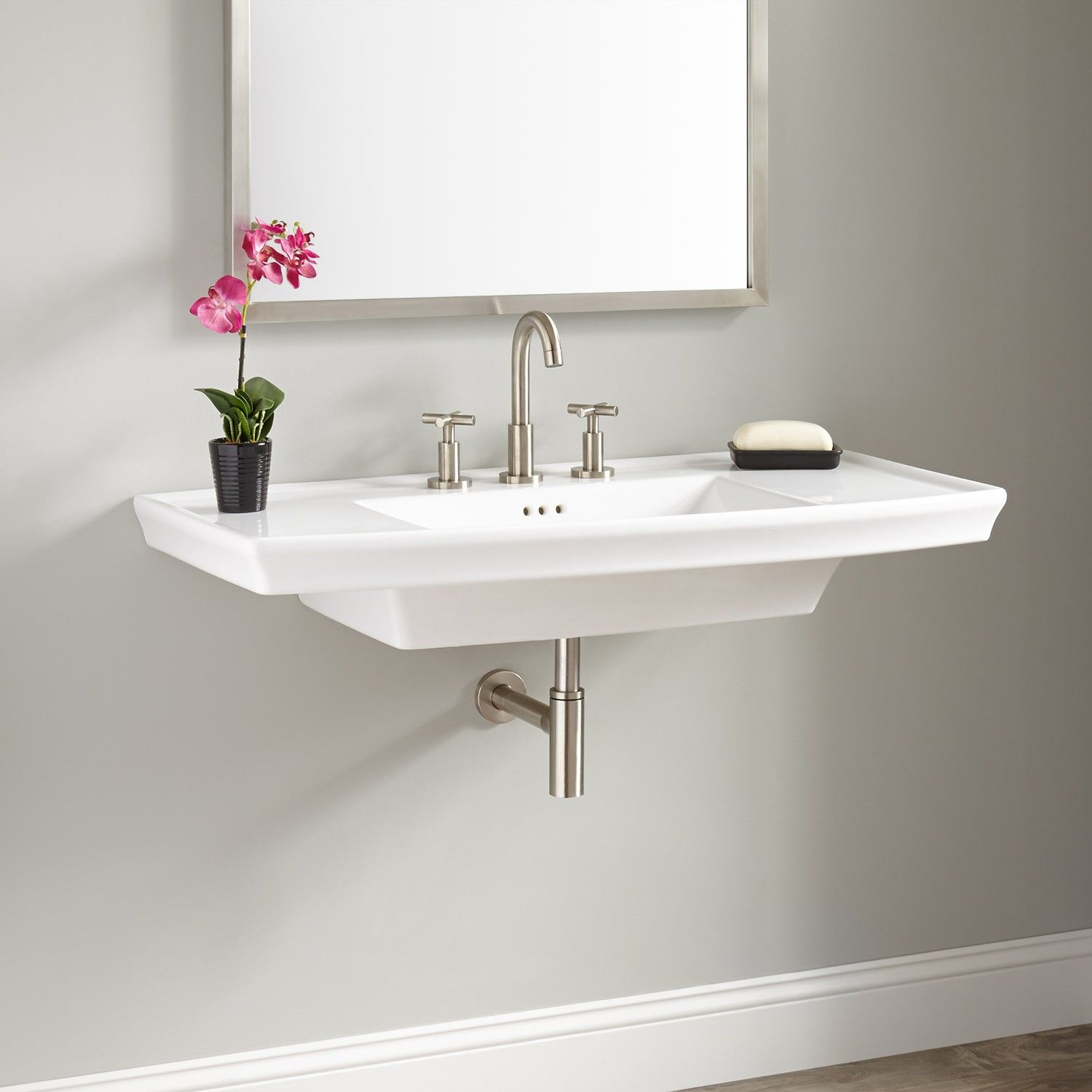 Olney Porcelain Wall-Mount Sink in 2019 | Mountain Modern Transitional | Wall mounted bathroom ...