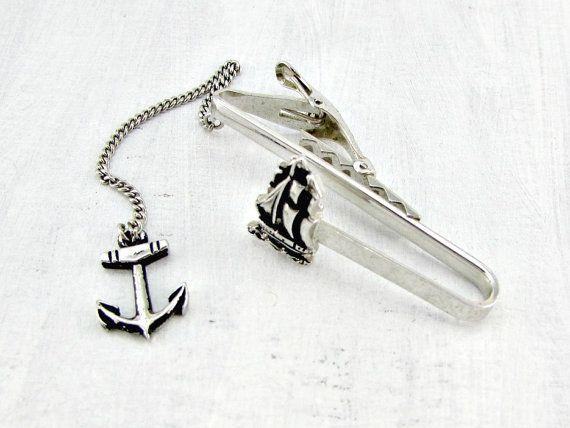 Vintage Nautical Tie Clip Bar Boat Ship Anchor Designer Foster Silver 1950s Unique Mens Jewelry Gift For Dad Him Men