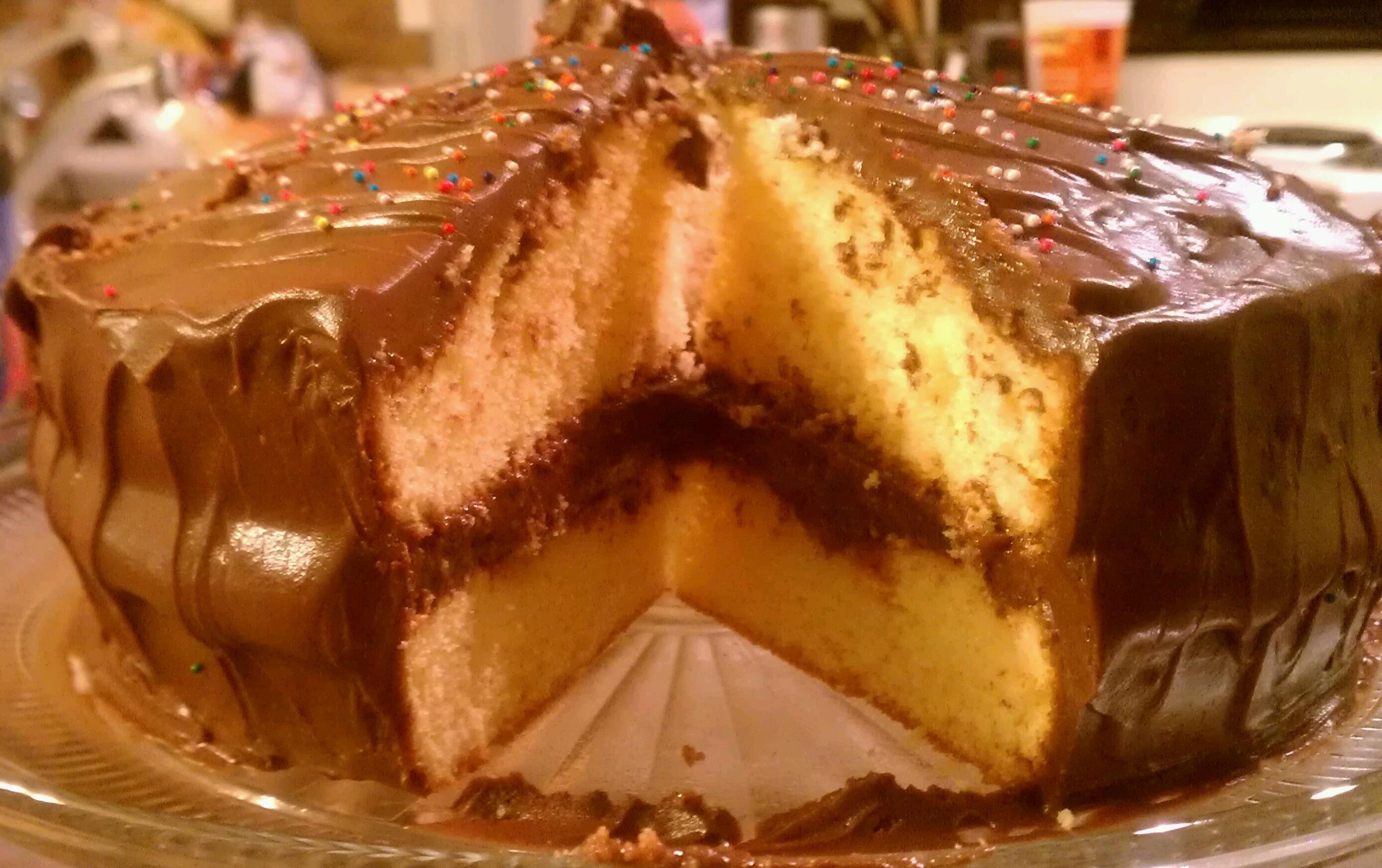 Birthday Cake Yellow Cake Chocolate Pudding Filling And