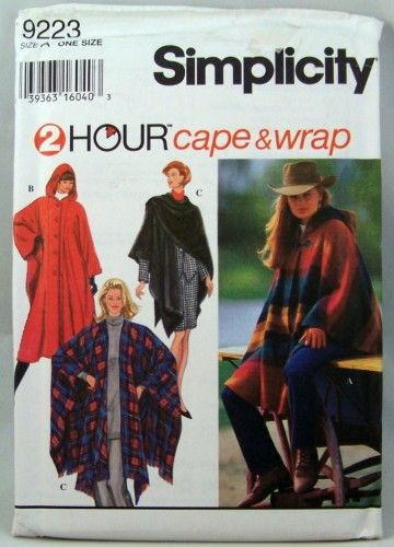 Simplicity 2 Hour Hooded Cape Poncho Ruana Sewing Pattern One Size ...