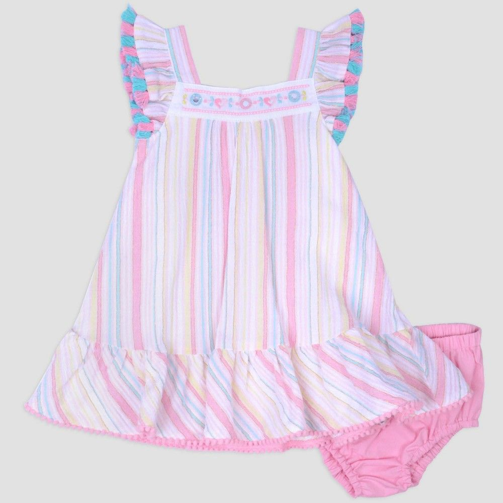 44eab5b1a Baby Girls' Stripe Gauze Dress & Poplin Panty Set Nate & Annee Pink 0-3M