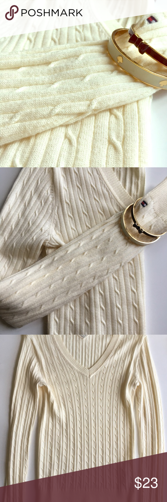 Tommy Hilfiger sweater Cream v-neck sweater, a classic wardrobe staple. Tommy Hilfiger Sweaters V-Necks