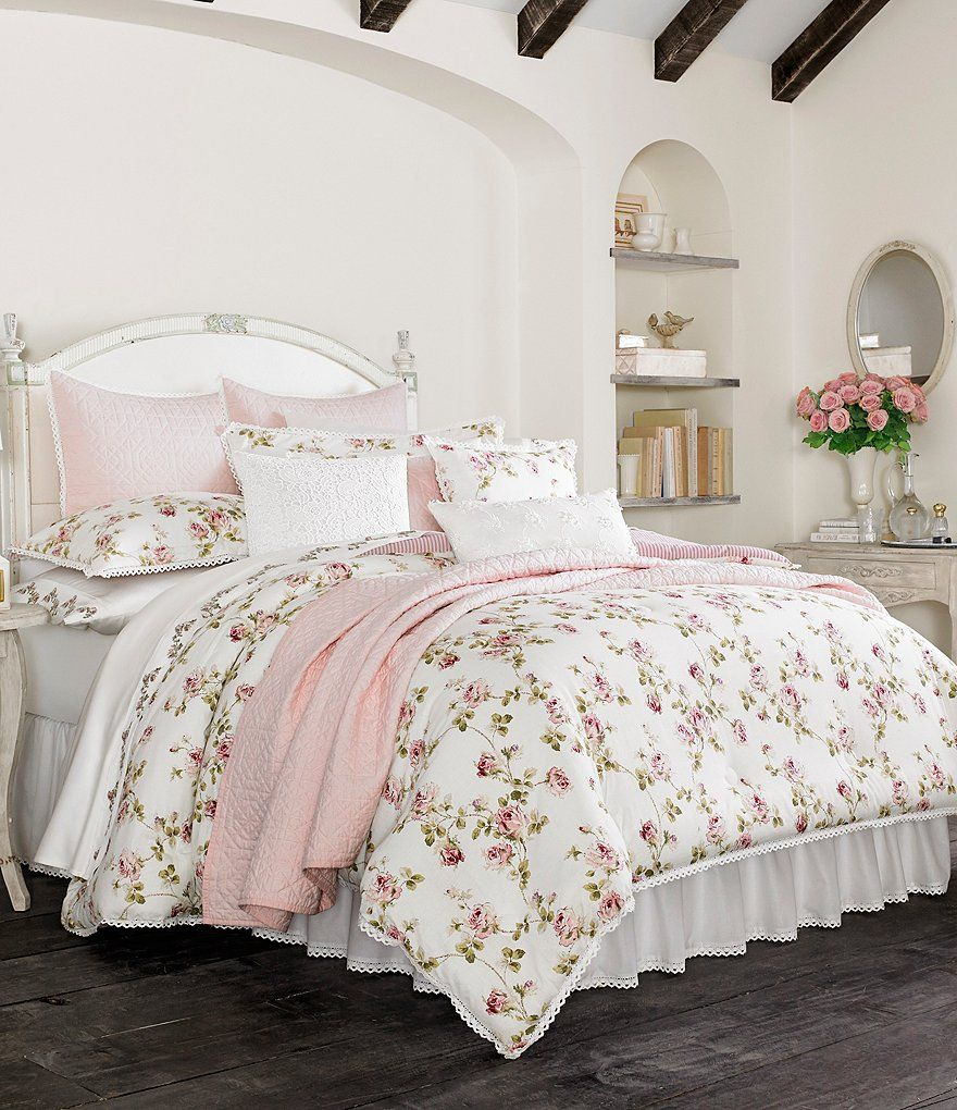 Piper wright rosalie crochet trimmed floral striped comforter set