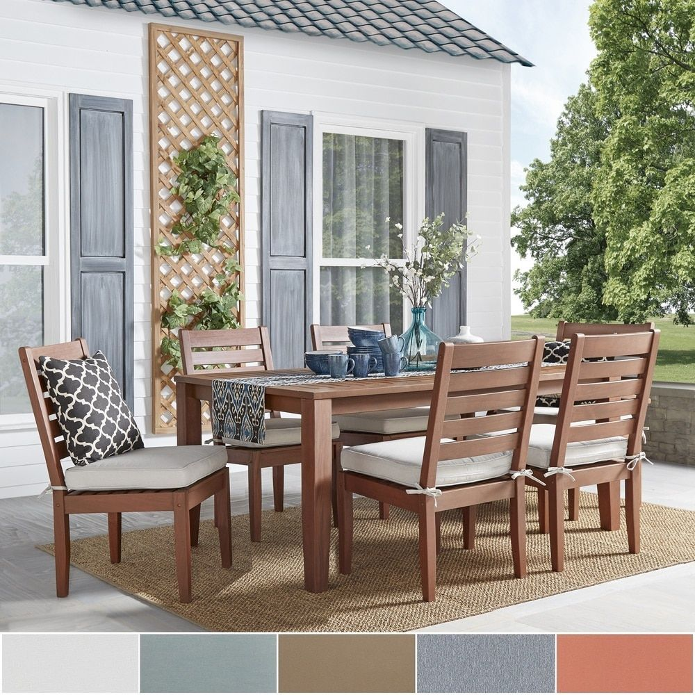 Yasawa Modern Wood Outdoor Rectangle 7-Piece Dining Set - Brown iNSPIRE Q  Oasis by INSPIRE Q