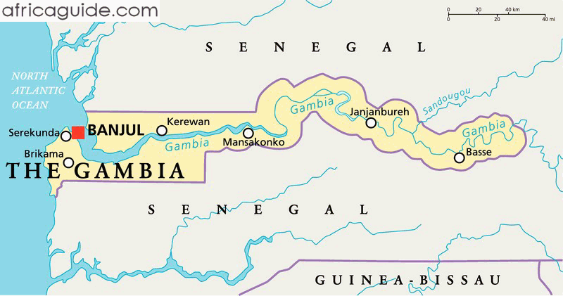 Gambia On Africa Map.The Gambia Map With Capital Banjul Gambia Pinterest Africa