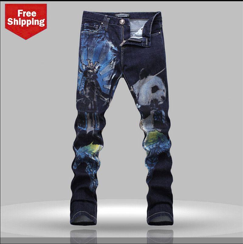 4cce473b6e Panda impreso Denim Jeans 2015 hombres moda Hip hop pantalones vaqueros  rectos delgados para hombre pintado