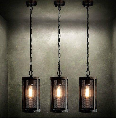 Industrial Style Dining Room Lighting Nordic Loft Metal Mesh Vintage Pendant Light Fixtures