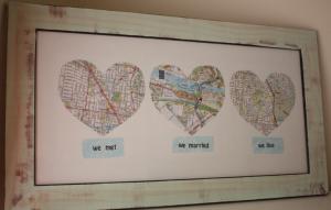DIY: Cuadros. Corazones con mapas de ciudades que has visitado