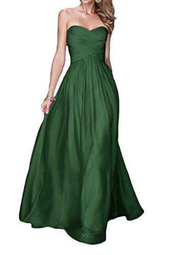 Promgirl House Promgirl House Damen Rein A-Linie Chiffon Abendkleider  Ballkleider Partykleider Festkleider Lang-32 Dunkelgruen Kleider:  Amazon.de: ...