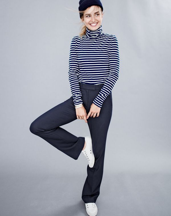 f1ea98d1f6 J.Crew women's striped tissue turtleneck T-shirt, Preston pant, beanie and  SeaVees® for J.Crew 06/67 Monterey sneakers in white leather.