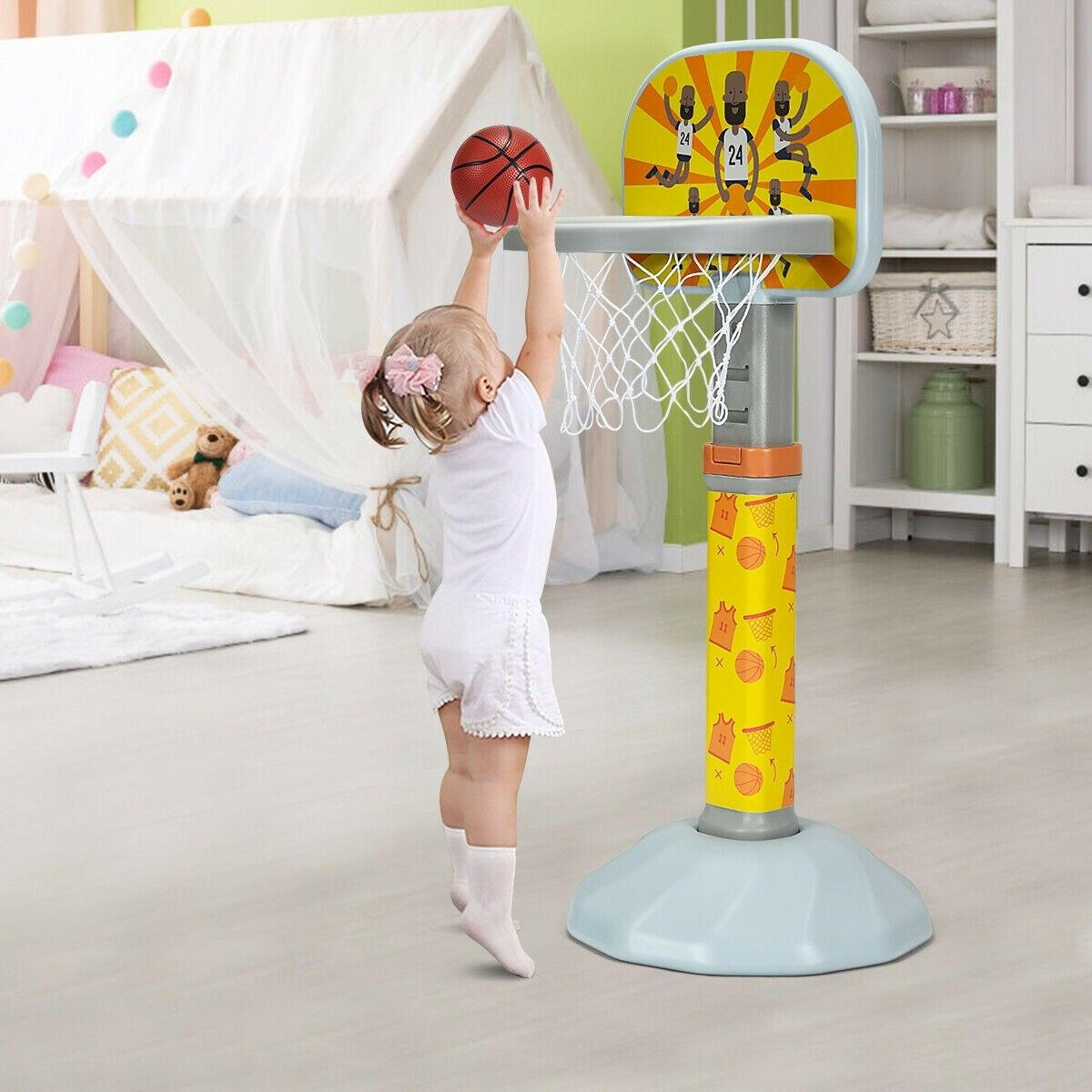 Kids Basketball Hoop Stand With Adjustable Height Kids Basketball Basketball Hoop Basketball