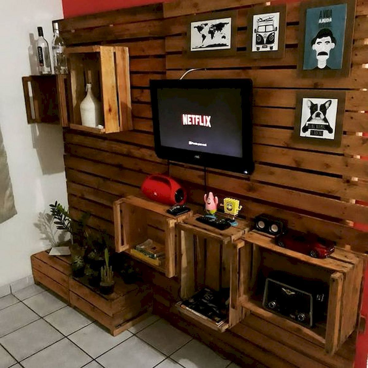 15 Best Wood Pallet Tv Ideas To Beautiful You Home Inspiration Wood Pallet Wall Wood Pallets Pallet Tv Simple disassembly room divider
