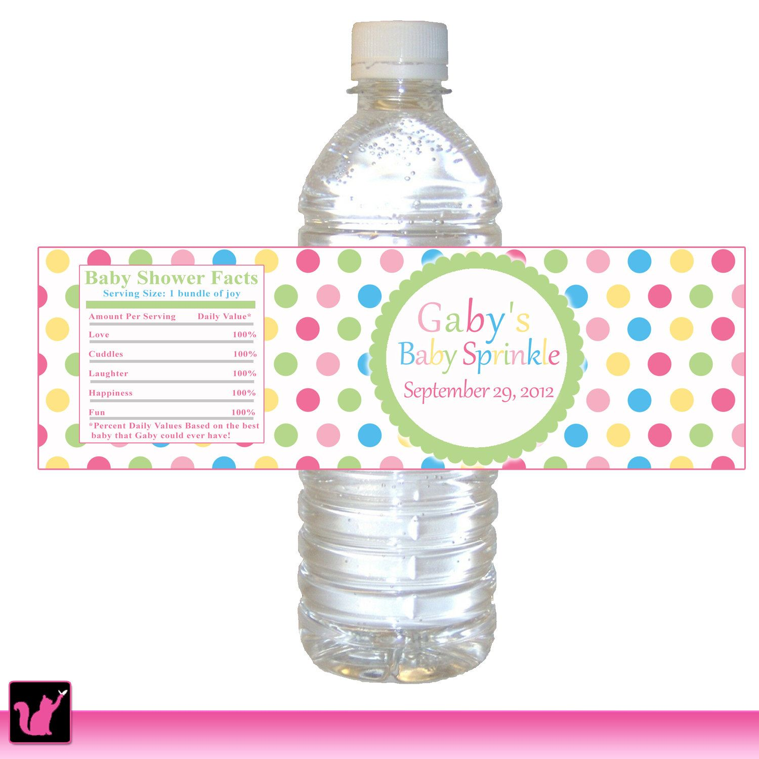 Polka Dots Water Bottle Label   Kids Birthday Party Baby Girl Shower  Sprinkle Unisex Editable File INSTANT DOWNLOAD
