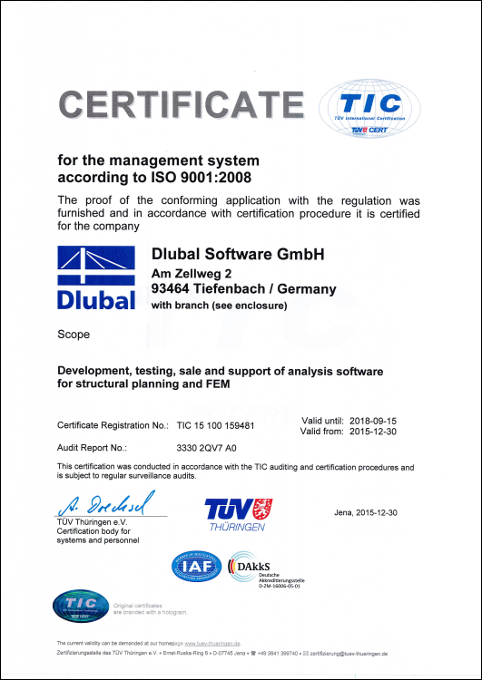 Certification Of Dlubal Software Gmbh According To Din En Iso 9001