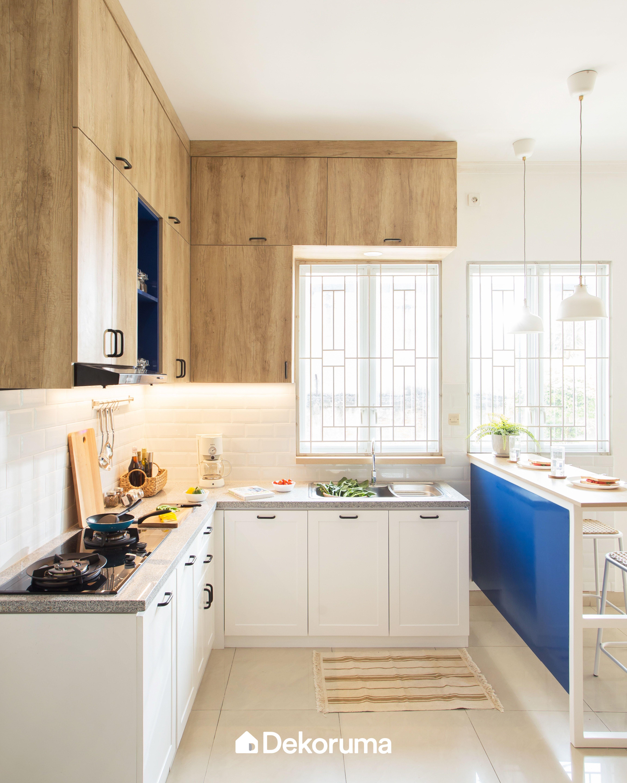 Minimalist Blue Kitchen Set Rawalumbu Renovasi Dapur Kecil Dapur Luar Ruangan Desain Interior