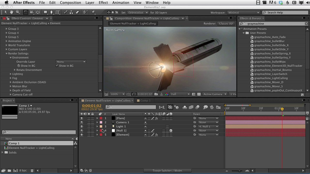 After Effects Presets Element 3D NullTracker And LightCulling NOTE THERE IS NO REASON TO USE THE ELEMENT PRESET ANY MORE THIS FEATURE