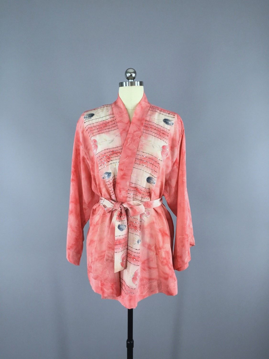 Coral Pink Floral Silk Kimono Cardigan Jacket made from a Vintage ...