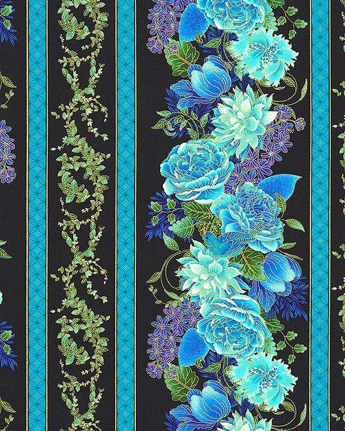 Black Flower Fabric Timeless Treasures Tree Of Life: Glowing Garden Stripe