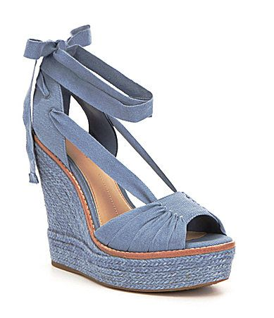 331fbb9d386 Gianni Bini Raedy Canvas Peep Toe Ankle Tie Espadrille Wedge Sandals   Dillards