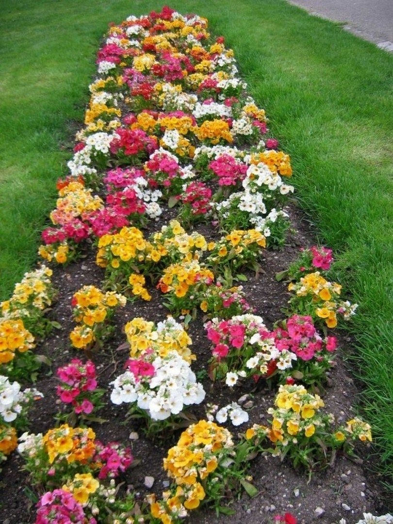 53 beautiful flower beds in front of house design ideas 36