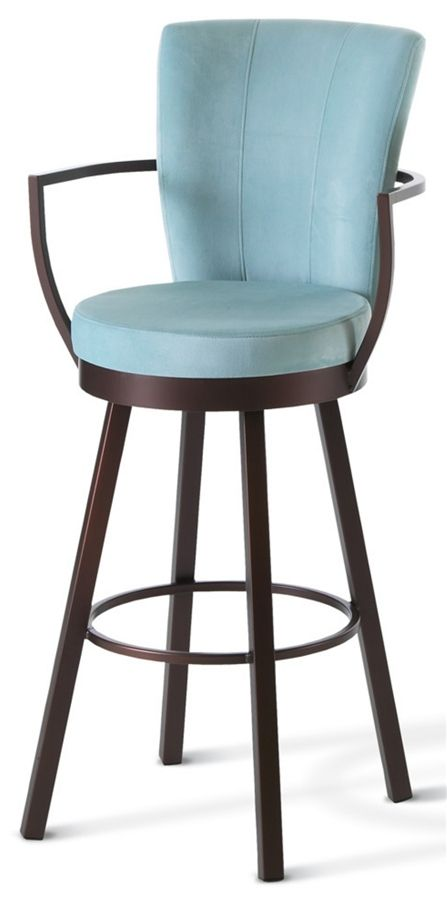 Cardin Swivel Stool w Wrap Arms and High Upholstered Back Extra