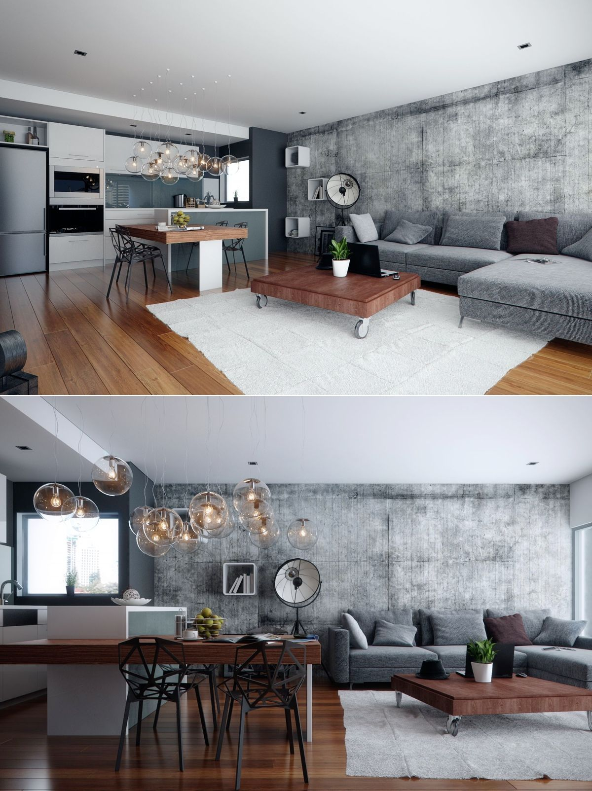 Studio apartment interiors inspiration exposed concrete for Studio apartment interior