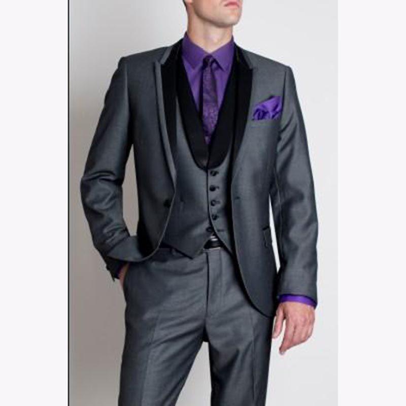 Latest Coat Pant Designs Gray Mens Dinner Prom Suits Groom Tuxedos Groomsmen Wedding Blazer Men Suit