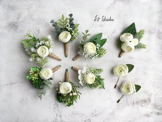 Wedding Silk Boutonniere Wrist Corsage Greenery Classic Boutineer Wristlet Set Fake Flowers Eucalyptus Fern Sage Buttonholes Man Lapel Decor
