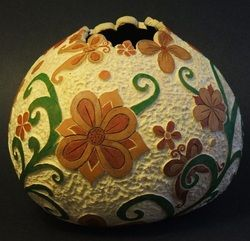"""Retro Floral"" wood stain, relief carving on gourd"