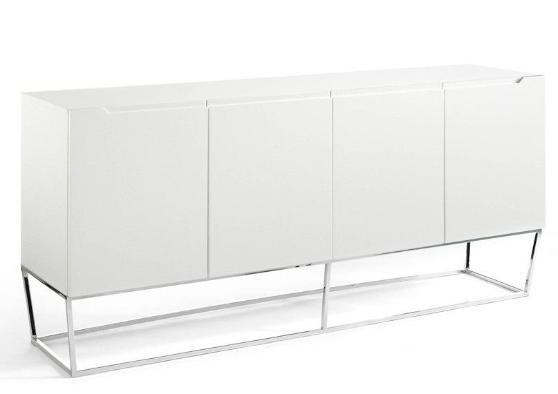 Design sideboard with 4 lacquered doors and chromed steel legs Romus