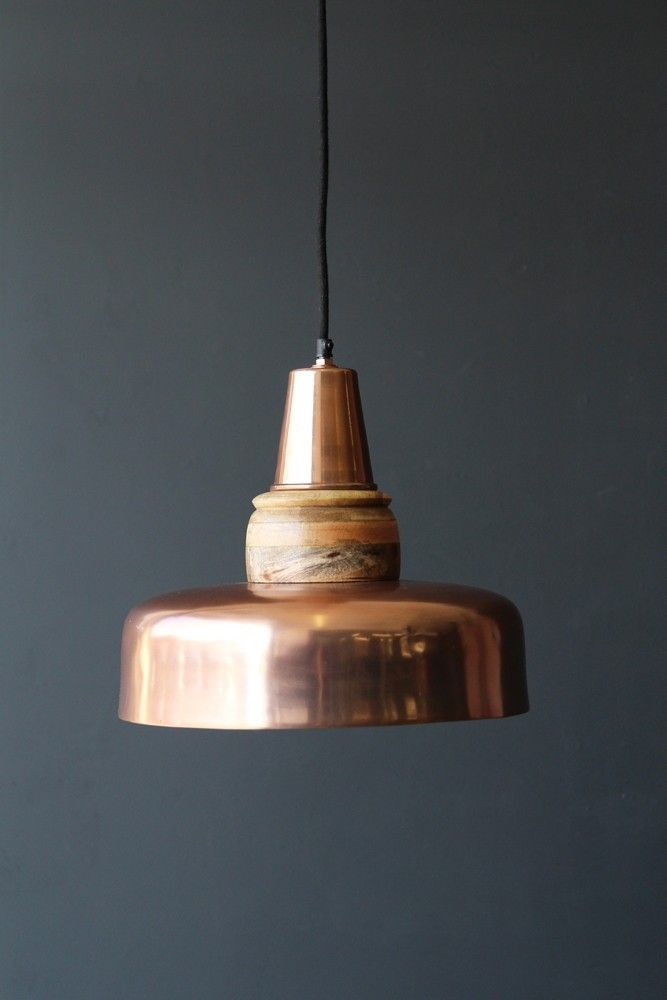 Large rose copper wood pendant light from rockett st george