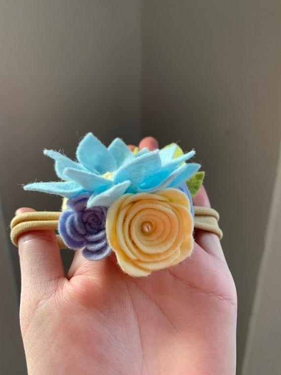 Blue Felt Flower Headband- Cornflower Blue Flower- Felt Flower Headband- Baby Headbands #feltflowerheadbands