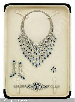 Set of 5: Sapphire and diamond, sapphires stated to weigh a total of 66.93 carats, diamonds stated to weigh a total of 92.39 carats,