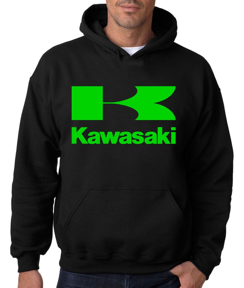 Kawasaki 3 Green Lines Zip-Up Hooded Sweatshirt Black Hoodie