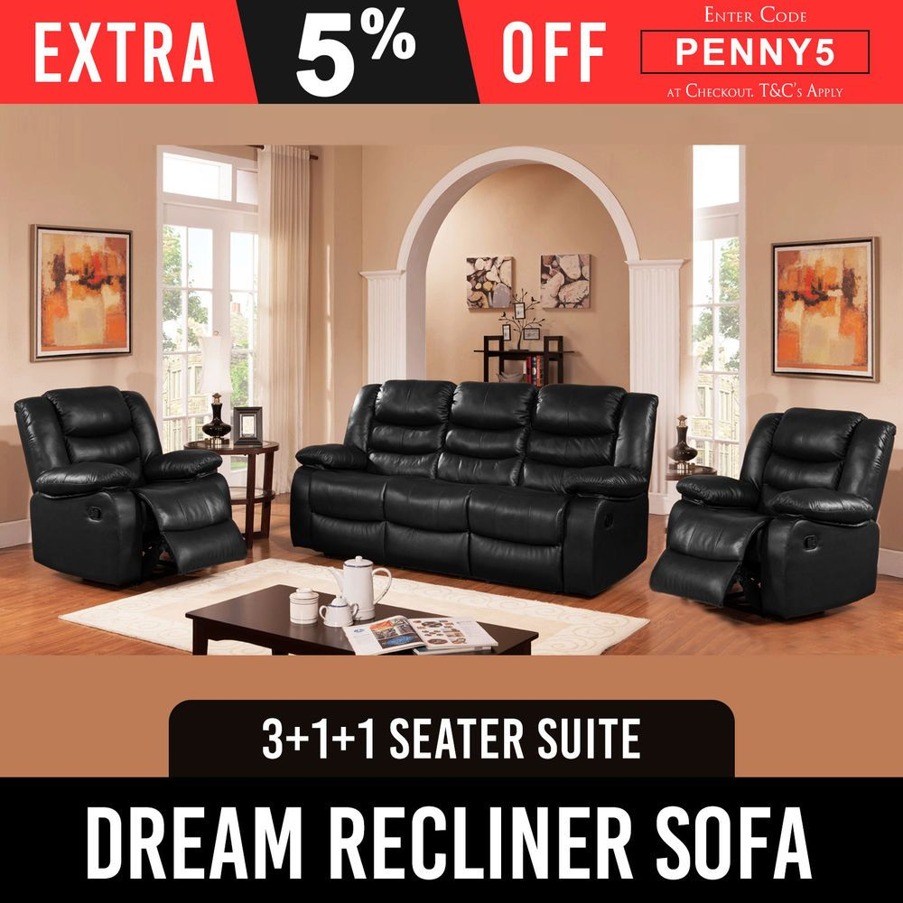 Lounge Suites For Sale Melbourne Recliner New 3rr 1r 1r Lounge Black Leather Smart Ultra Cushioned
