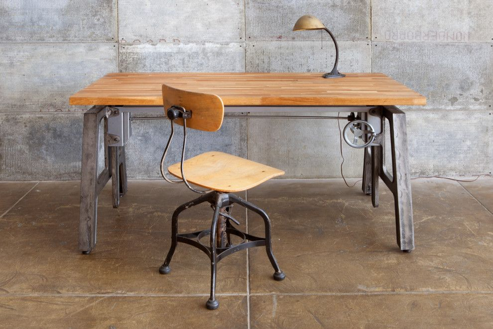 industrial office desk. Height Adjustable Table LAX Industrial-home-office Industrial Office Desk D