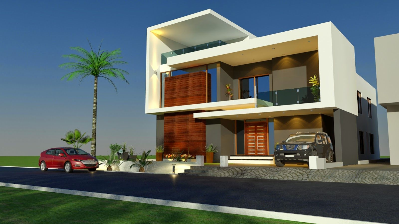 3d front house home contemporary modern for Contemporary indian house elevations