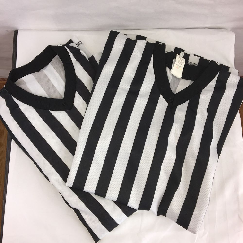 2 Cliff Keen XL Referee Shirts Basketball Solid V Neck Made in USA #CliffKeen