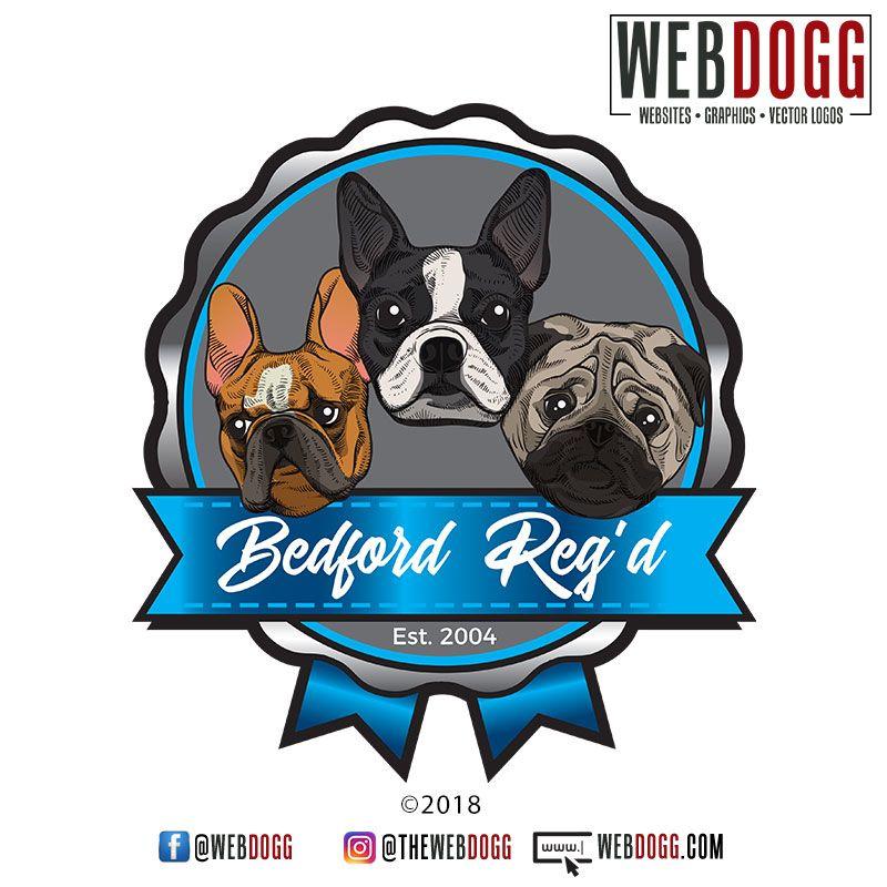 Bedford Reg D Kennels French Bulldog Boston Terrier Pug Logo
