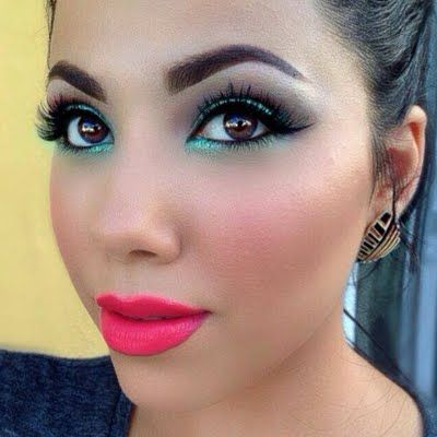this colorful and fashion forward makeup features bright