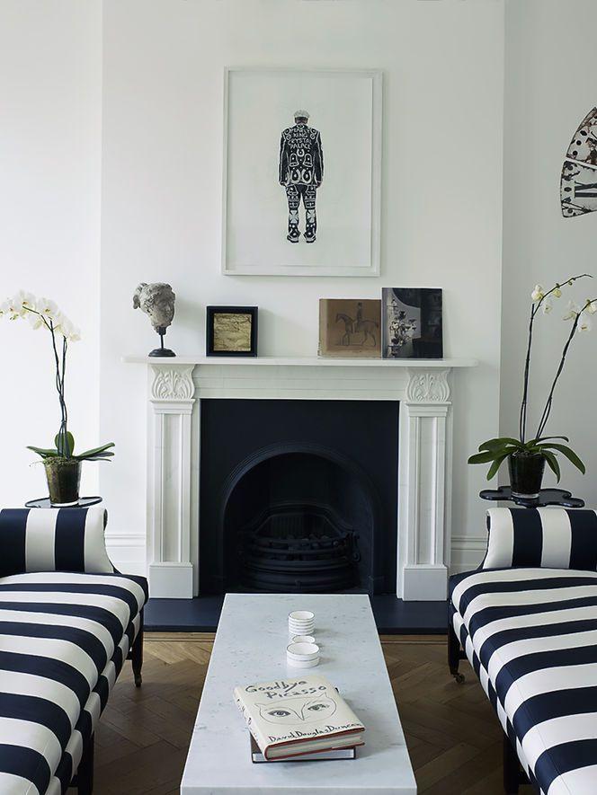 Black and White stripe sofas in neutral