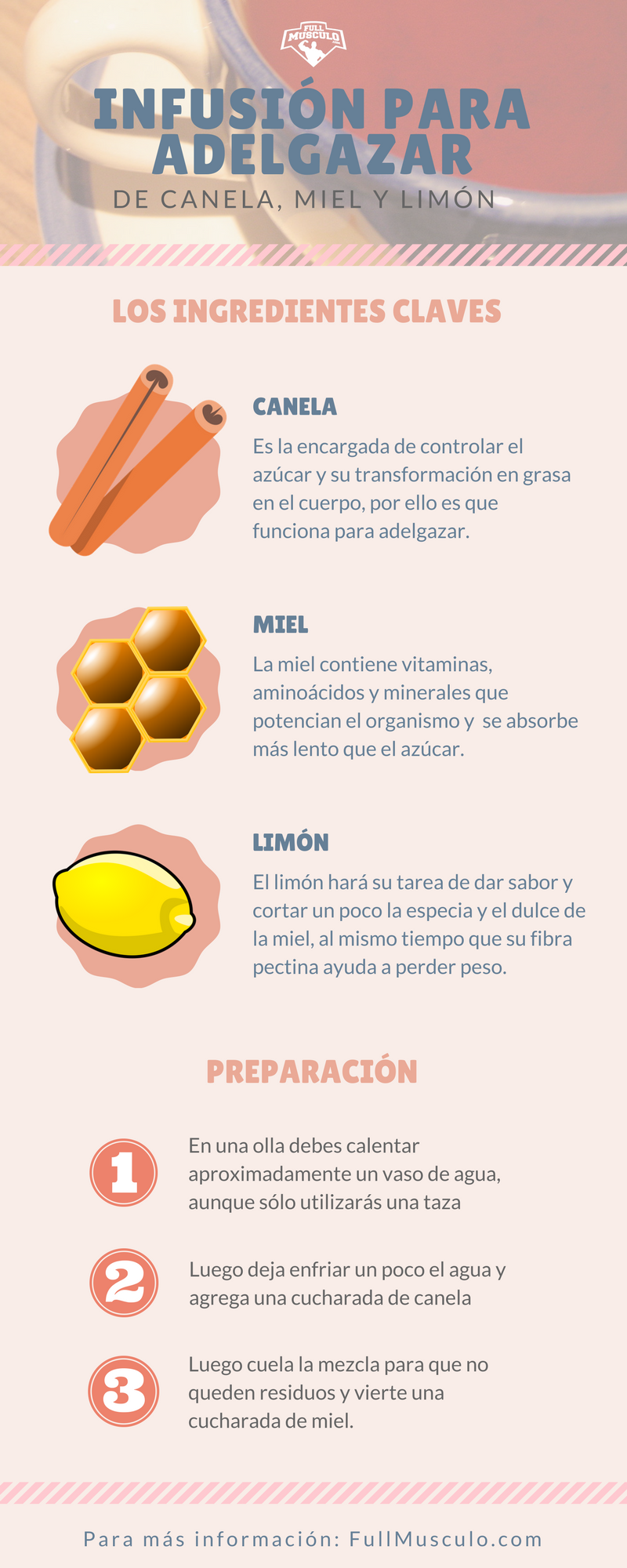 Preparacion de canela y miel para bajar de peso